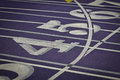 White numbered indoor track lanes on a purple field Stock Photos