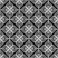 White openwork lace seamless pattern on black background Stock Photo