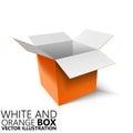 White and orange open box 3D/ illustration