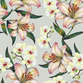 White orchid flower on a branch, lily,watercolor, bouquet, pattern seamless Royalty Free Stock Photo
