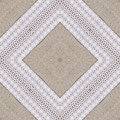 White organic cotton crochet lace background, backdrop for scrapbook, Christmas, yuletide, top view. Collage with mirror reflectio