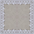 White organic cotton crochet lace background, backdrop for scrapbook, Christmas, yuletide, top view. Collage with mirror