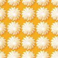 White Origami Floral seamless pattern on orange background.