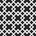 White ornament on a black background. Intersecting rhombs. Painted by hand rough brush. Geometric seamless grunge pattern.