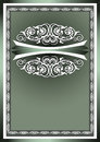 White ornaments in the decorative frame on a dark green background Stock Images