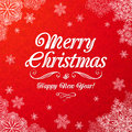White ornate merry christmas sign on red background Royalty Free Stock Images