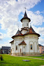 White orthodox romanian church facade the healing spring in bucovina region in romania country Stock Photography