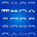 White outline and thin line bridges icons Royalty Free Stock Photo