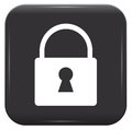 White padlock on black button vector icon eps Stock Photography