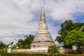 White pagoda in cloudy sky buddhism under thailand temple Royalty Free Stock Photos