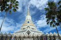 White pagoda in thai temple at chonburi thailand Royalty Free Stock Images