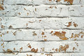 White painted cracked brick wall background Royalty Free Stock Photo