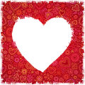 White painted heart on red ornate background Stock Image