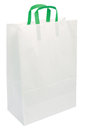 White Paper Bag Green Handles Isolated Closeup Royalty Free Stock Image