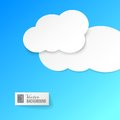 White paper clouds over blue vector background composed of vector illustration contains transparencies gradients and effects Royalty Free Stock Images