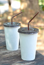 White paper cup with drinking straw Royalty Free Stock Photo