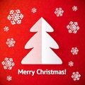 White paper cut out christmas tree greeting card vector Stock Photos