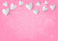 White paper 3d heart on pink background. Vector EPS 10.