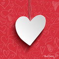 White paper heart on red wallpaper Royalty Free Stock Photos