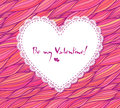 White paper lacy heart on pink doodle background waves Stock Photo
