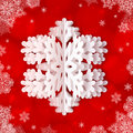 White paper snowflake on red ornate background vector Royalty Free Stock Photos