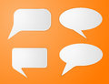 White paper speech bubbles on orange background vector illustration Royalty Free Stock Photo