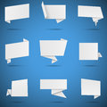 White paper speech bubbles set of isolated on blue background eps file with transparency Royalty Free Stock Photo
