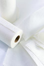 White paper towel on a reflective background Stock Photography