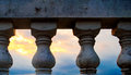 White parapet a in the eveing Royalty Free Stock Photo
