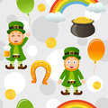 White patrick s day seamless pattern a with leprechaun a rainbow a horseshoe a pot of gold balloons and money on background useful Stock Photos