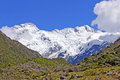 White peaks against a blue sky mt sealy in mount cook national park in new zealand Stock Photo