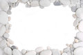 White pebble stone frame border background Stock Photo
