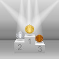 White pedestal with gold silver and bronze medals realistic three dimensional image Royalty Free Stock Images