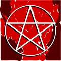 White pentacle on coloful background Royalty Free Stock Photo