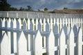 White Picket Fence. American Camp, San Juan Island, Washington. Royalty Free Stock Photo