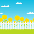 White picket fence with sunflowers Royalty Free Stock Photo