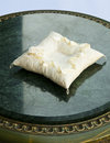 White pillow for wedding rings Royalty Free Stock Image