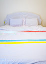 White pillows on a bed comfortable soft the Stock Photo