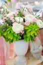 White and pink flowers vase full of Royalty Free Stock Photo