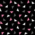 White pink gray triangles pattern on black background seamless v