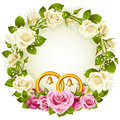 White and pink rose circle wedding frame Stock Image