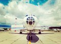 White plane on the platform Royalty Free Stock Photo