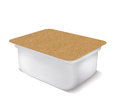 White plastic blank bank for food, oil, mayonnaise, margarine, cheese, ice cream, olives, pickles, sour cream with eco paper cover Royalty Free Stock Photo