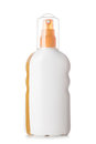 White plastic bottle on background isolated Stock Photos