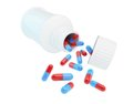 White plastic medical container for pills Stock Photos