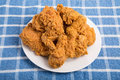 White Plate of Fried Chicken on Blue Towel Royalty Free Stock Photo