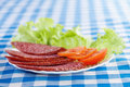 White plate (sliced salami Stock Photography
