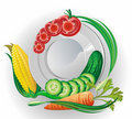 White plate with vegetables Stock Photo