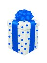 White polka dot present box with blue bow isolated Stock Photo
