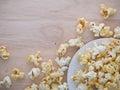 White popcorn on the wood